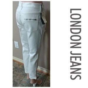 NWT London Jeans Ankle Zip Moto Destroyed Skinny